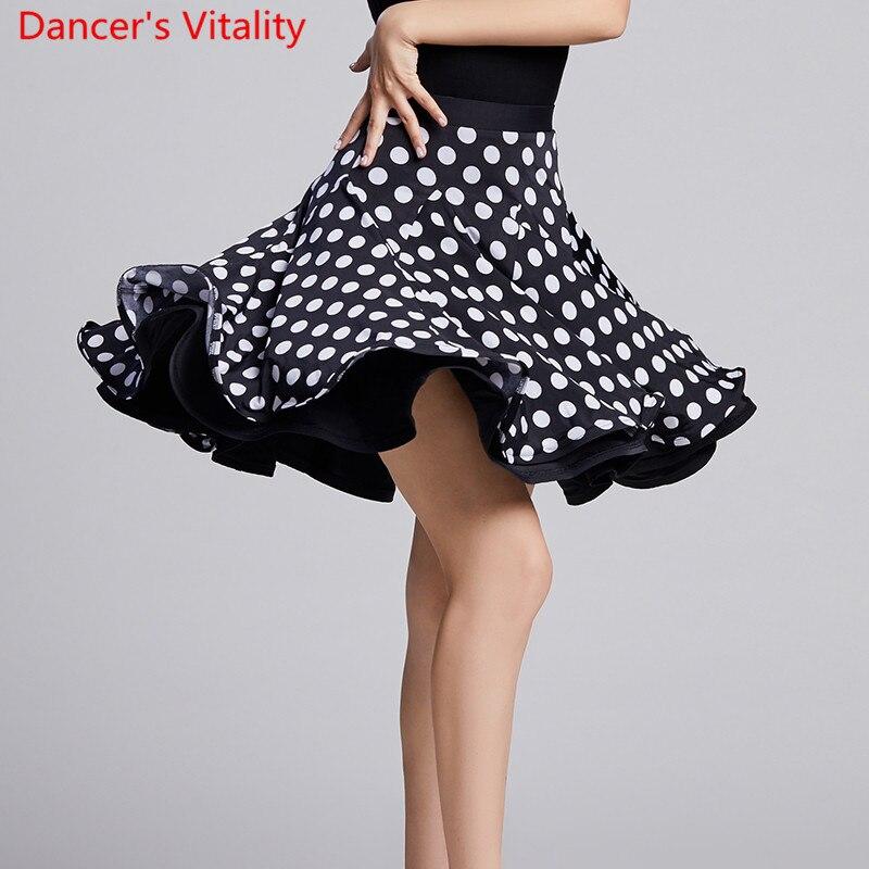 Новая современная Одежда для танцев, леопардовая короткая плиссированная юбка в горошек, национальный стандарт, вальс, джазовый танец, трен