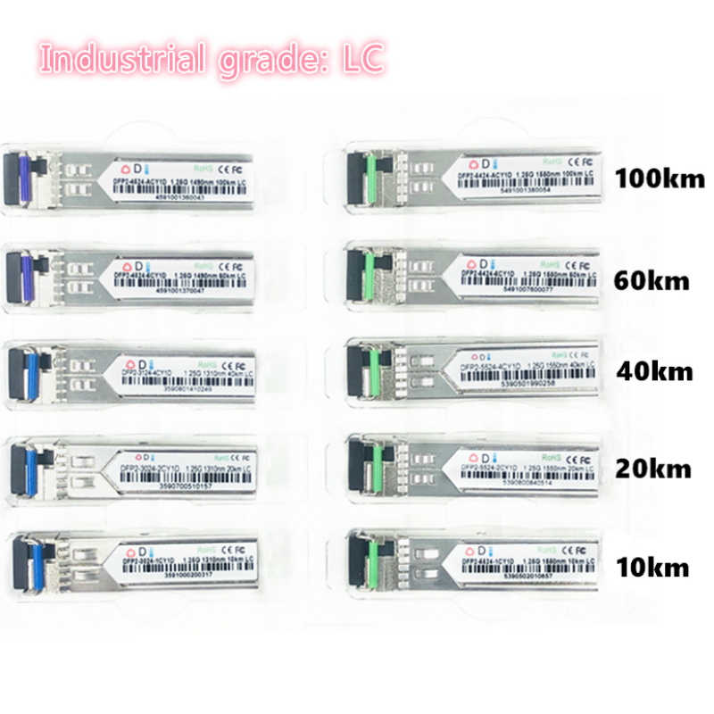 LC SFP Fiber Optic Module Industrial Grade -40~+80 Celsius 1.25G10/20/40/60/100KM 1310/1490/1550nm Compatible Optical Module