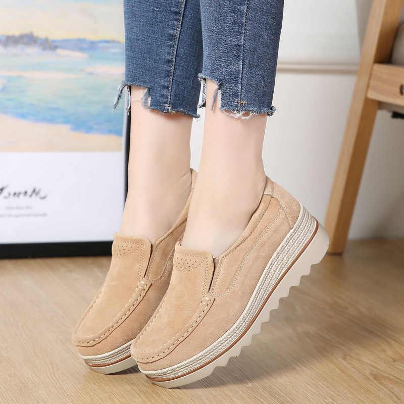 Frauen Wohnungen Plus Größe Plattform Flache Frühling Casual Frauen Sneaker Schuhe Slip On Mokassins Damen Schuhe Zapatos Mujer 2019 VT613