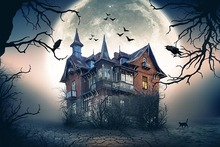 Neoback Horror Castle Halloween Backdrop Black Forest Old Trees Photography Backdrops Night Moon Cat Photo Background