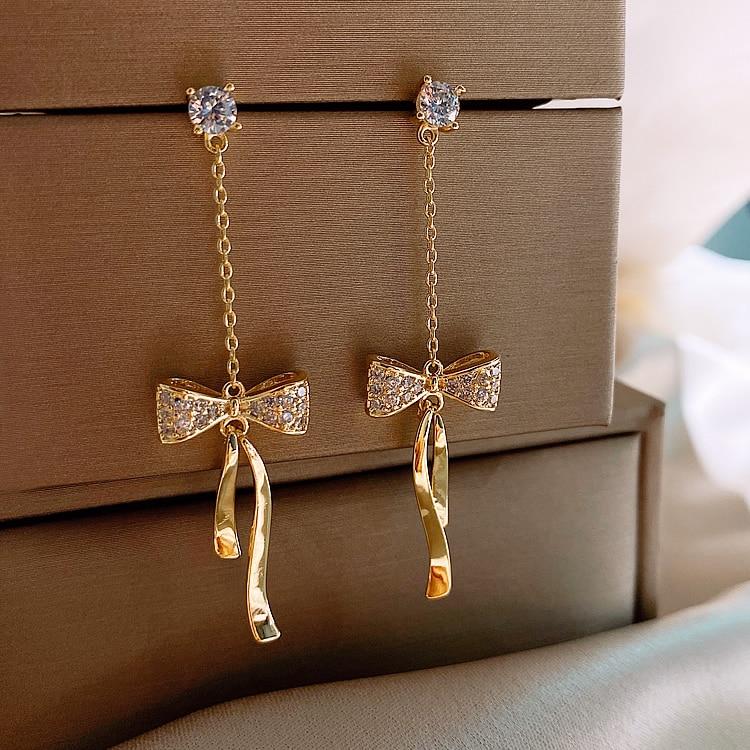 High sense bow earrings tassel long earrings Korean temperament earrings 2020 trendy earrings trendy fashion stud earrings