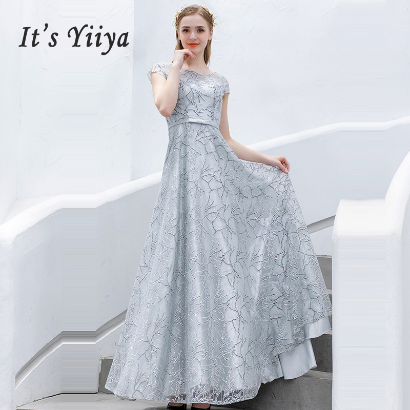 It's Yiiya Evening Dress Slim Sashes Robe De Soiree Short Sleeve Women Party Dresses 2019 Plus Size Boat Neck Evening Gowns E646