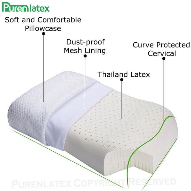 PurenLatex 57x37 Ventilated Thailand Pure Natural Latex Pillow Concave Anti-Stiff Soft Orthopedic Pillow Vertebrae Health Care 4