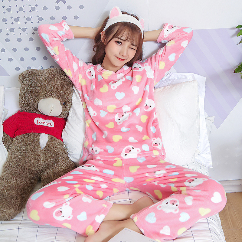 [[Jun Xin]] Autumn And Winter Flannel Coral Velvet Pajamas Women's Care Bears Home Wear