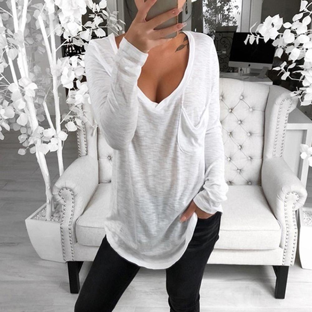 T Shirt Women Long Sleeve Women Top  Tshirt V-neck Long-sleeved T Shirt Casual Loose Cotton Pullover Top