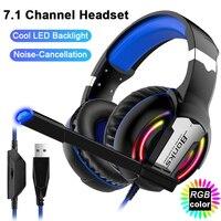 7.1 canais gaming headset graves profundos over-ear jogo fones de ouvido estéreo com microfone led luz para computador portátil ps4 X-BOX gamer