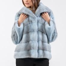 Light Blue Women Genuine Mink Fur Jacket with Hood High Quality Short Fur Overcoats Luxury Woman Natural Mink Fur Coat Short