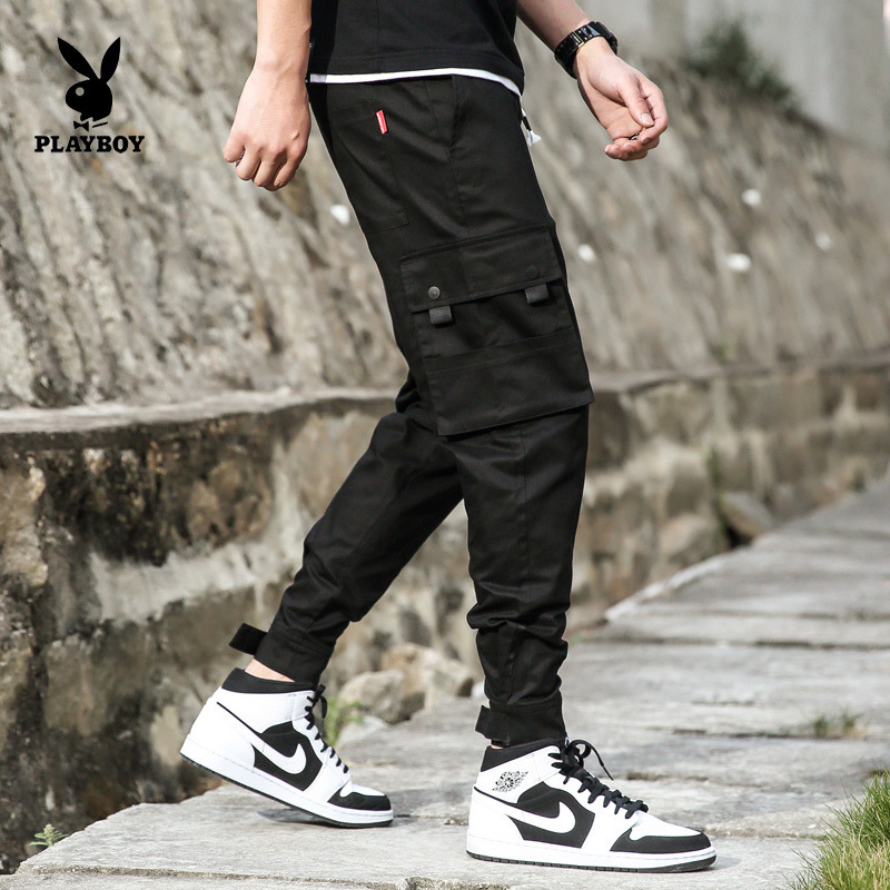 PLAYBOY Fashion Men Korean-style Slim Fit Washing Bib Overall Multi-pocket Trousers Men's