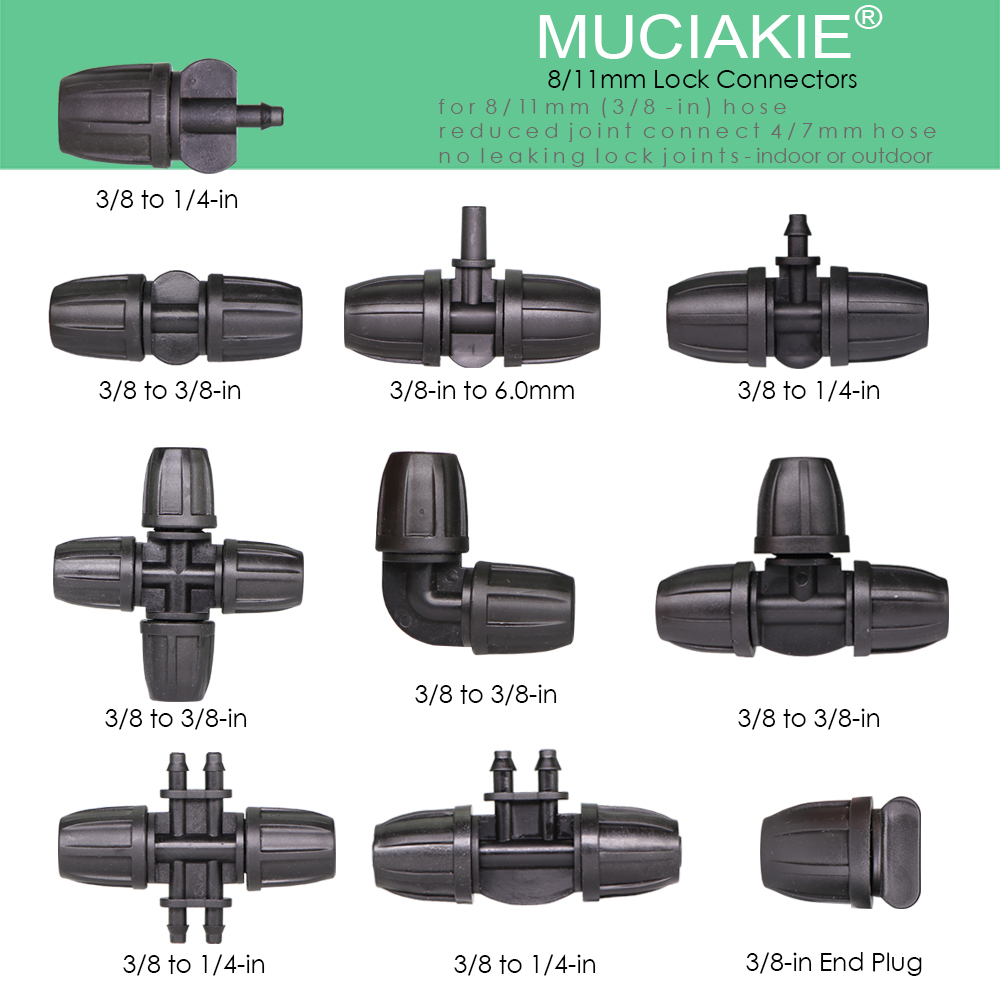 MUCIAKIE 8/11mm Water Hose Connector Garden Irrigator Lock Coupling Adapter 3/8'' Watering Joints For Garden Tubing