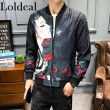 Loldeal Hip Hop Jacket Men Slim Fit Flowers Pilot Bomber Mens Stand Collar Coats
