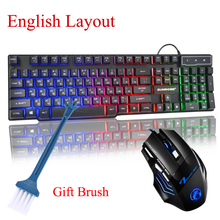цена на Russian Layout Wired Gaming Keyboard & Mouse клавиатура RGB 7 Colorful Keyboard Breathing Light Mouse for Gaming for PC Laptop