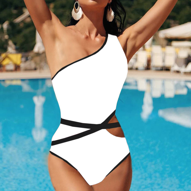 One Piece Bandage Swimsuit Sexy Hollow Out Bikini Set 2019 New One Shoulder Vintage Swimwear Women Sexy Bodysuit Monokini
