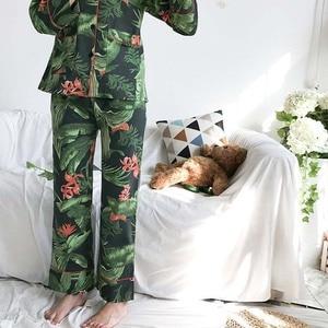 Image 5 - Frauen Frühling Herbst Pyjamas Set Natur Grün Lange sleeve Herbst Baumwolle Damen Koreanische Version Strickjacke + Hosen Komfort Homewear set