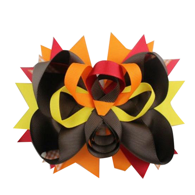 5 inch Thanksgiving Day hair bows Stylish Hair clip for girls Handmade Headwear Accessories