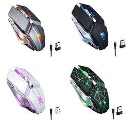 Dla t-wolf Q15 bezprzewodowa mysz usb ładowanie ciche wyciszenie światło dotykowy koło mysz do gier Star Black