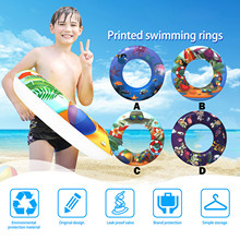 Baby Swimming Ring Cartoon Printing Inflatable Float Swimming Ring Color Random Pools Water Fun Seat Float Rings Outdoor Kids