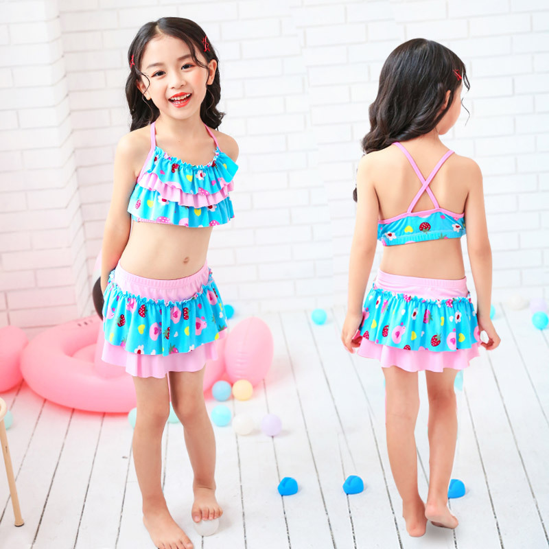 KID'S Swimwear Women's Cute Strawberry Cake Two-piece Swimsuits Two-Piece Set Big Boy GIRL'S Baby Bikini