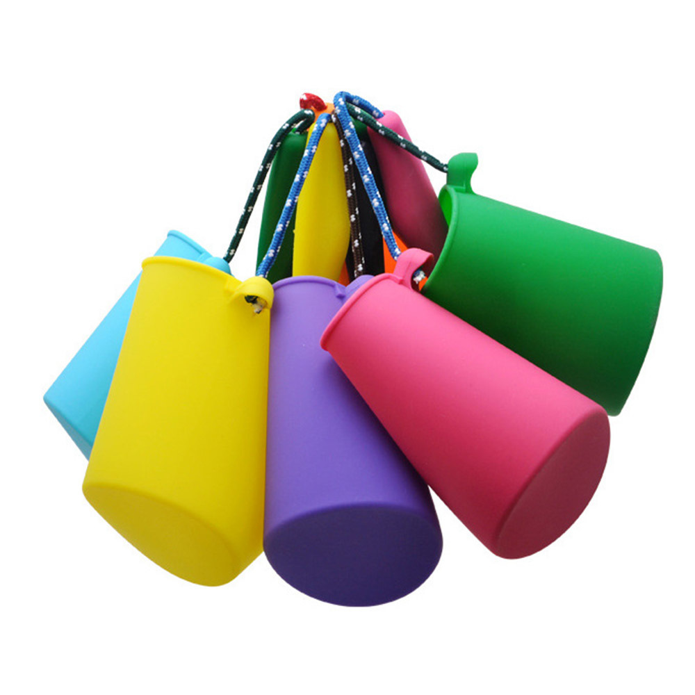 2020 New 6 Colors Beach Bucket Silicone Folding Hand-held Barrel Toy Baby Kids Shower Bath Toy Sand Dabbling Pour Water Toy