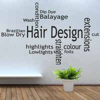 Hair Design Quote Barber Shop Wall Sticker Vinyl Interior Decoration Wall Decals Hair Salon Words Removable Wallpaper Mural 3A40
