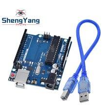 Boitier officiel UNO R3 avec câble USB, jeu de carte de développement ATMEGA16U2 + MEGA328P pour Arduino, 1 pièce