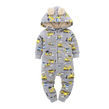 Baby Winter Clothes Newborn Unisex Kid Boys Girls Long Sleeve Hooded Fleece Jumpsuit New Born Costume 2019(China)