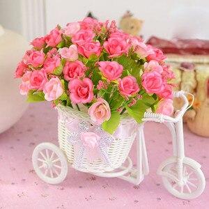 Rattan Tricycle Bike Flower Basket Plastic Artificial Flower Vase Desktop Decor Fake Flower Basket Jarrones Decorativos Moderno(China)