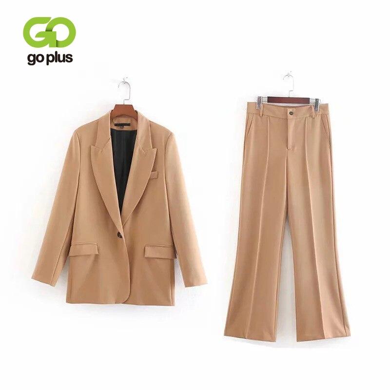 GOPLUS Autumn Winter OL Women's Suit Single Button Blazer & High Waist Flare Pant Office Lady Conjuntos De Mujer Ensemble Femme