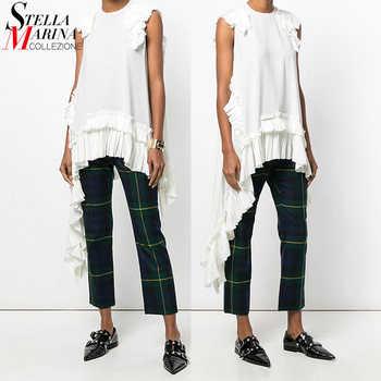 New 2019 European Fashion Summer Women Solid White Irregular Tee Top Sleeveless Ruffles Hem Girls Hippie Chic T-shirt Style 3659 - DISCOUNT ITEM  15% OFF All Category