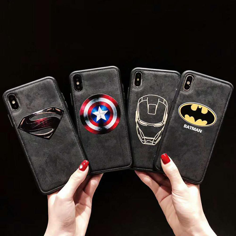 Luxury Marvel Cloth Phone <font><b>Case</b></font> For <font><b>iPhone</b></font> XSmax XR XS X <font><b>8</b></font> 7 6s 6 Plus Ultra-thin America Captain <font><b>Silicone</b></font> Fabric Cover Coque image