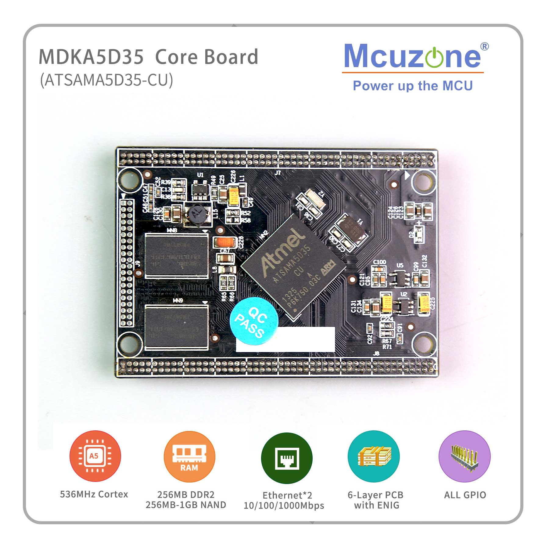 Gigabit Ethernet , ATSAMA5D35, A5D35, MDKA5D35 Core Board, 536MHz Cortex-A5 CPU, 256MB DDR2,256M NAND, 4USART+2UART