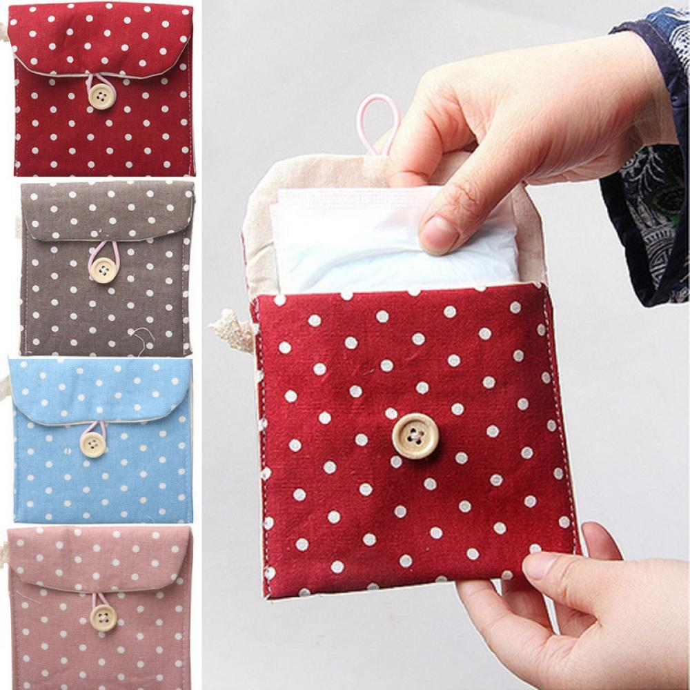 Hot Sale New  1pcs Women Portable Napkins Travel Tampon Bag Lovely Polka Make Up Bag Cosmetic Bag Beauty Case Travel Wash Pouch
