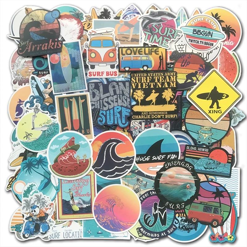 Car Stickers SURF CLUB Vinyl Stickers Travel Stickers Bullet Journal Stickers Van Stickers Travel Love Macbook Stickers