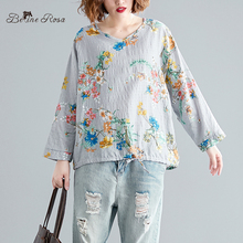 BelineRosa Autumn Style Cotton Linen Floral Printed Tops Loose Long Sleeve Womens Casual T-shirts BSDM0276