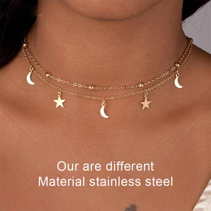 Pendant Necklace Beads Star-Horn Multilayer Crescent Double-Chain Stainless-Steel Moon