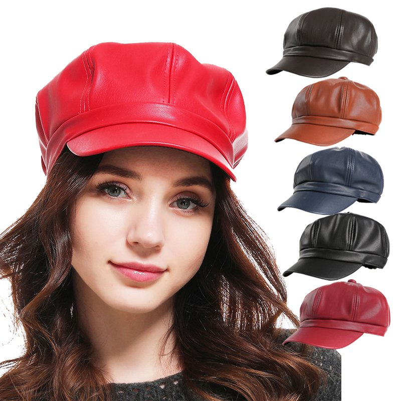 Hot 2019 Solid Color PU Leather Octagonal Cap Ladies British Retro Casual Cap Fashion Painter Outdoor Cap