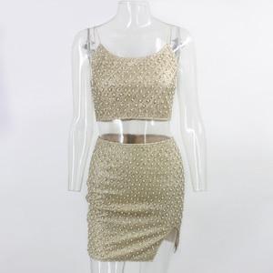 Image 5 - Pfflook 夏キラキラセクシーな 2 個セットノースリーブナイトクラブパーティー 2 個セット女性クロップトップショートシャツ 2 ピース衣装