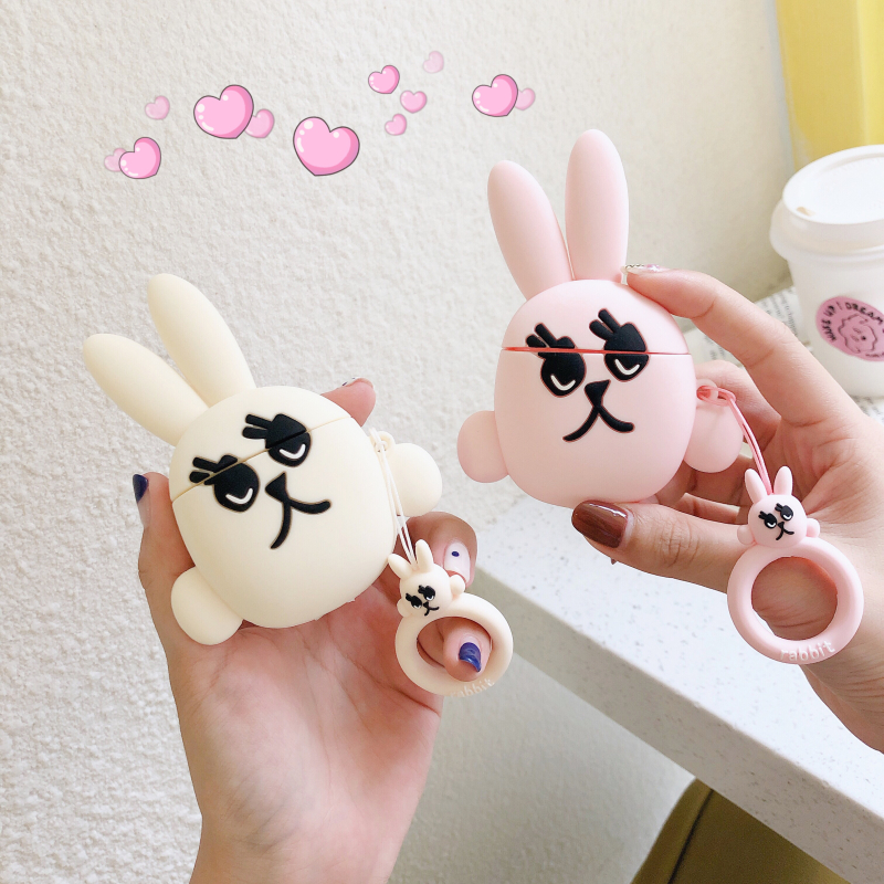 Funny Cute Rabbit Cartoon For AirPods Earphone Accessories Case For Airpods 2 Bluetooth Cover Fashion Silicone Charge Box