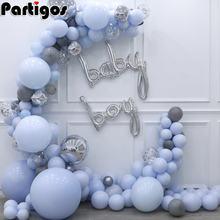 Macaron blue grey pastel воздушные шары гирлянды арочный комплект