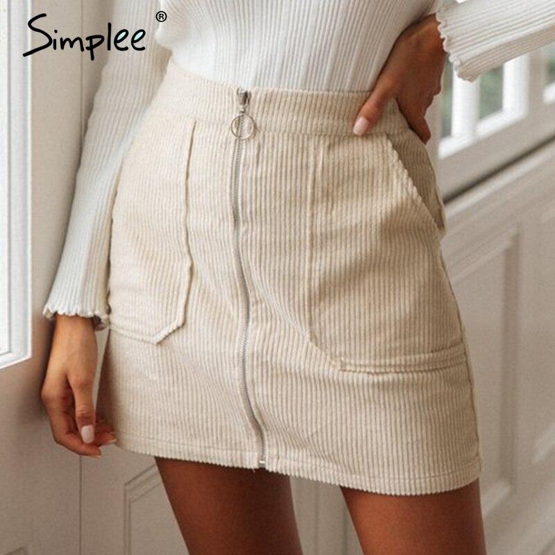 Simplee Women Corduroy Autumn Skirt High Waist Zipper Office Short Skirts Winter Female Casual Streetwear Straight Mini Skirts