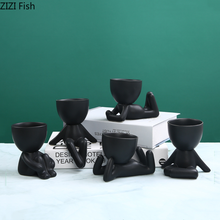 Ceramic Vase Statue Flower-Pot Figure Home-Decoration Little-People Black Modern Lovely