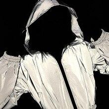 Светящаяся куртка, светоотражающее пальто с капюшоном, верхняя одежда, осенняя бейсбольная куртка-бомбер, костюм на молнии, блестящая светится в темноте, F92268