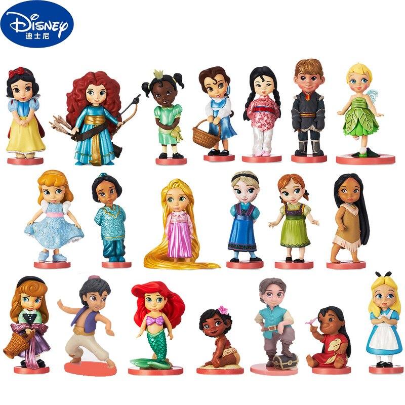 22pcs Disney Princess Snow Cinderella White Snow Fairy PVC Action Figures Disney Clothes Change Dolls Toys For Children DS01