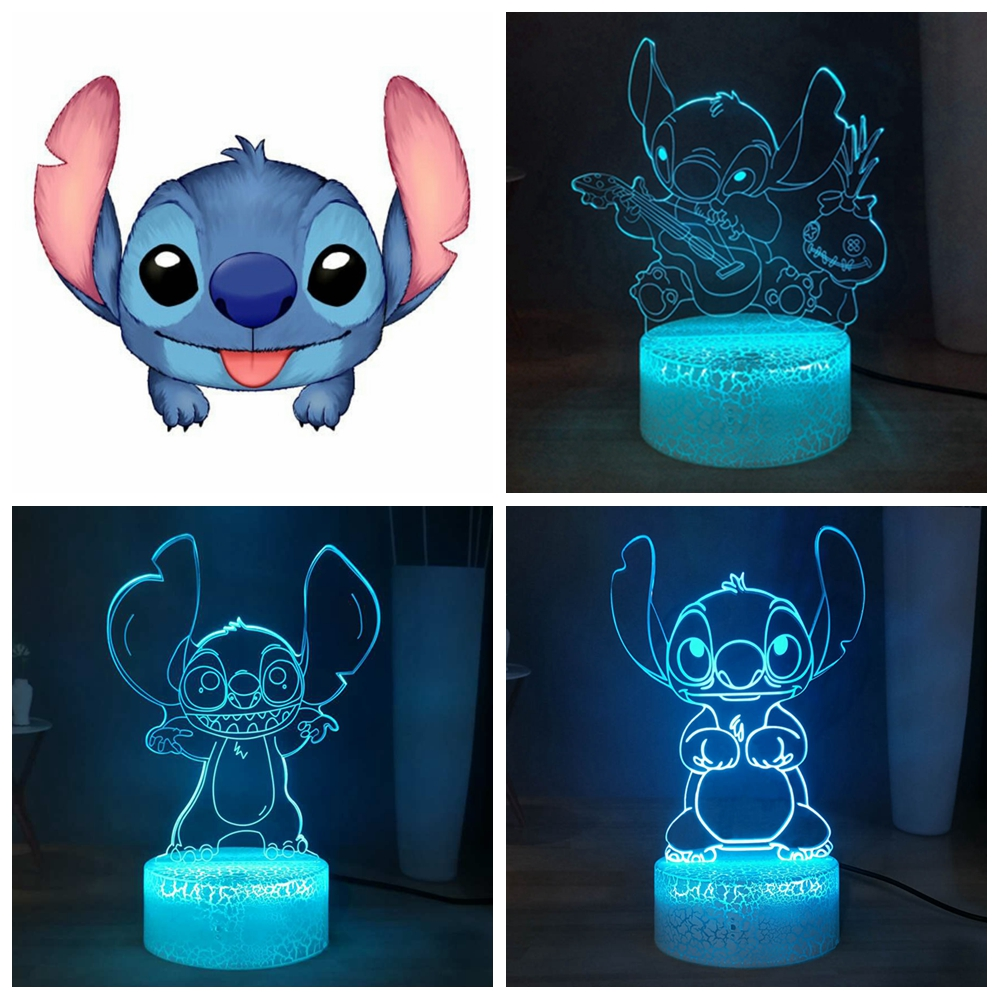 Stitch 3D Visual Night Lamp Cartoon Cute Stitch LED Night Light USB Remote Home Atmosphere Light Table Lamp Kids Birthday Gift