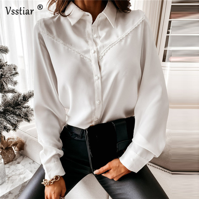 Long Sleeve Lace Blouse Sexy Office Ladies Tops Elegant Patchwork Solid Casual Shirt Plus Size White Black 2021 New Clothing 1