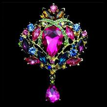 Doluo Hot Sale Rhinestone Paduan Bros Pin Perempuan Ledakan Mahkota Kaca Kancing Air Drop Rhinestone Bros Perhiasan Diy(China)