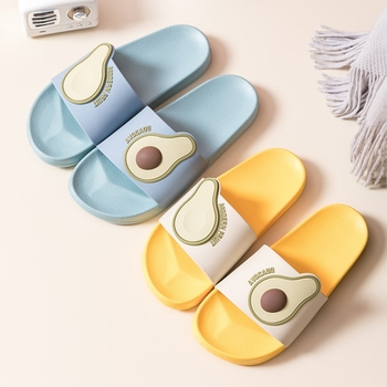 Summer Home Fruit Women Slippers Cute Cartoon Avocado Non-Slip Bathroom PVC Slippers Ladies Slides Indoor Couple Shoes Wholesale цена 2017