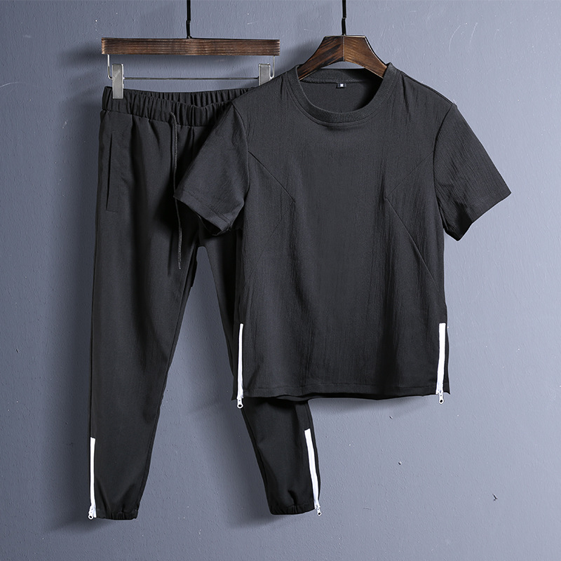 Summer 2PC Set Men  Short Sleeve T Shirts Two Piece Tops+ Shorts Suit Tracksuit Men New Sportswear Set Mens Short Sets Male 2020