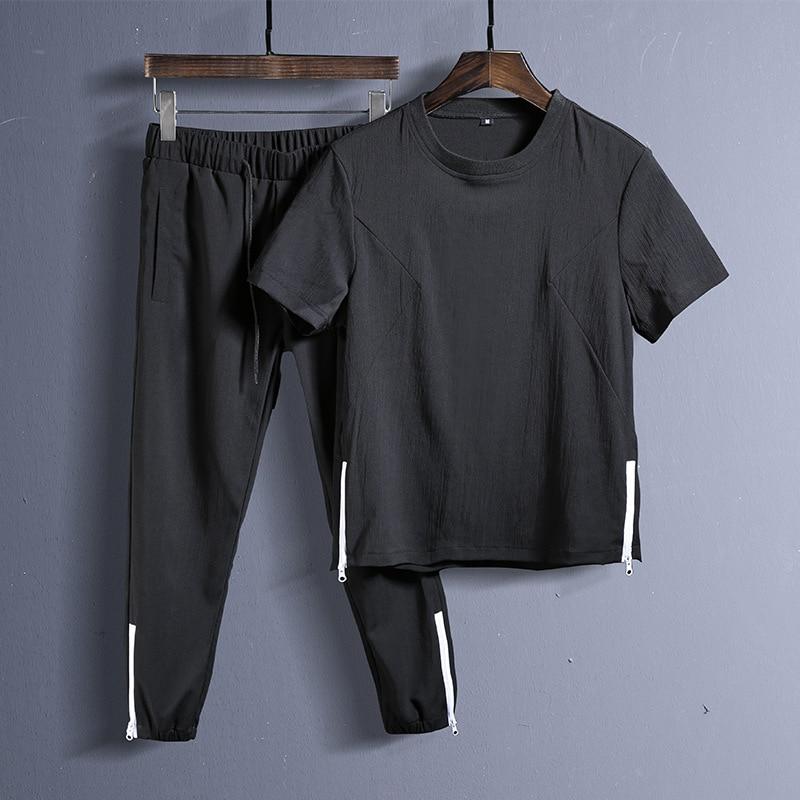 Summer 2PC Set Men  Short Sleeve T Shirts Two Piece Tops+ Shorts Suit Tracksuit Men New Sportswear Set Mens Short Sets Male 2020