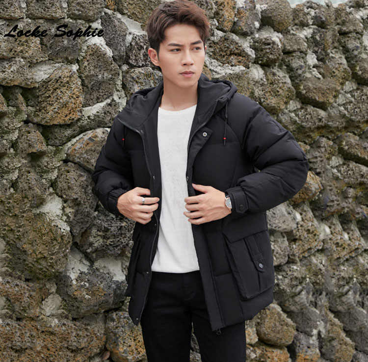 Для мужчин s плюс размер на открытом воздухе пуховик 2019 зима белый утиный пух сплайсинга с капюшоном утепленная куртка Мужские обтягивающие пуховики пальто