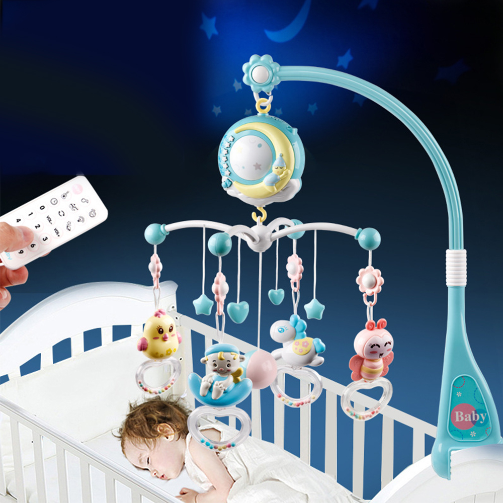 Baby Toys 0-12 Months Crib Mobile Musical Bed Bell With Sky Stars Projection Rattles Early Learning Newborn Toy Educational Toys